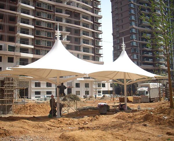 清华西花园小区膜结构遮阳棚项目